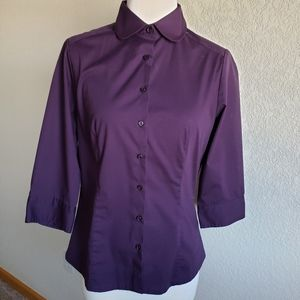 Riders by Lee Eggplant 3/4 sleeve button up blouse